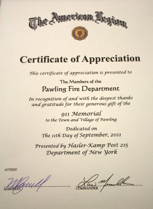 VFW Post Presents Pawling Fire Dept With Certificate Of Appreciation    Pawling Fire Department