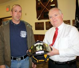 The Reverand Mark Allan (R) with PFD District Chief Everett White (L)